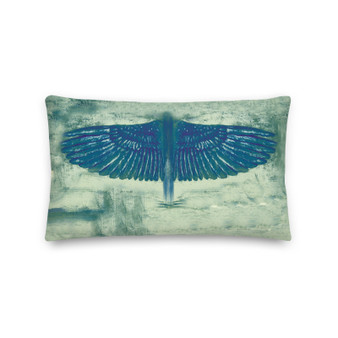 On sale Leonardo Da Vinci Blue  Bird Throw Pillows   by the Neoclassical Pop designer online art fashion and design brand with the best Old Masters Collection