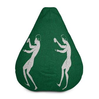 Buy Greek Style Kick back Dark Green Silver Bean Bag Chair w/ filling by Neoclassical pop art designer online store