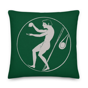 On sale medium parsley green decorative greek art throw Pillow by Neoclassical Pop Art designer online art fashion and design brand store