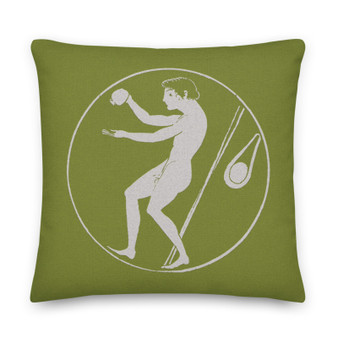 On sale olive green Premium decorative greek art throw Pillow by Neoclassical Pop Art designer online art fashion and design brand store