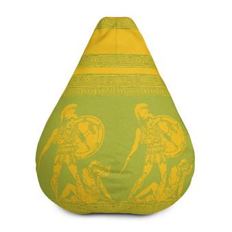 Buy Greek Style Kick back Yellow Green Bean Bag Chair w/ filling by Neoclassical pop art designer online store