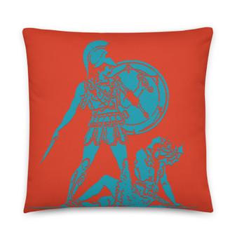 On sale Goya Blue orange Premium decorative greek art throw pillow Pillow by Neoclassical Pop Art designer online art fashion and design brand store