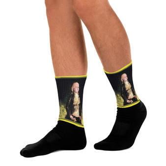 on sale Collectible Goya Yellow Black trendy art portrait socks by Neoclassical Pop Art online designer brand store