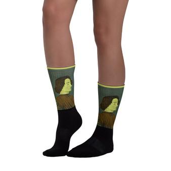 on sale Collectible Sandro Botticelli  yellow green brown black  pop art man portrait cute socks by Neoclassical Pop Art online designer brand store