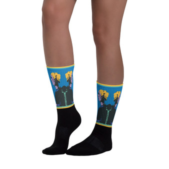 on sale Collectible Sandro Botticelli blue yellow black  pop art man portrait socks by Neoclassical Pop Art online designer brand store