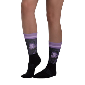 on sale Collectible Diego Valazquez Infanta Dona Maria  purple  cool art socks by Neoclassical Pop Art online brand store