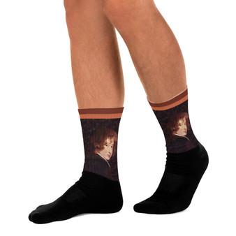 On Sale Anthoney Van Dyck brown orange Woman Portrait Crew Socks by Neoclassical Pop Art online designer pop art brand