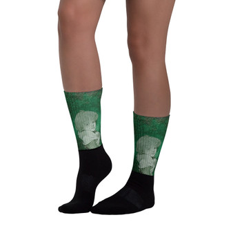 on sale Collectible Greuze child Portrait green  black cool  art socks by Neoclassical Pop Art online brand store
