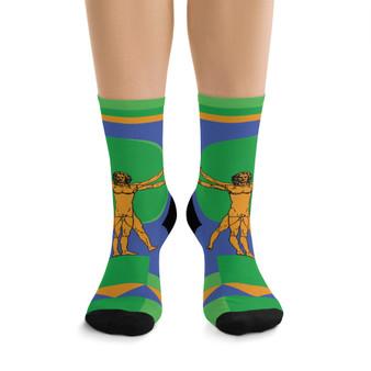 on sale Collectible Leonardo da Vinci Vitruvian Man yellow  green blue trendy art socks by Neoclassical Pop Art online designer brand store