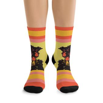 on sale Collectible Leonardo da Vinci Vitruvian Man Yellow Orange cool art socks by Neoclassical Pop Art online designer brand store