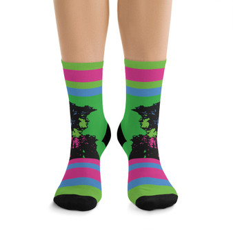on sale Collectible Leonardo da Vinci Vitruvian Man green pink cool art socks by Neoclassical Pop Art online designer brand store