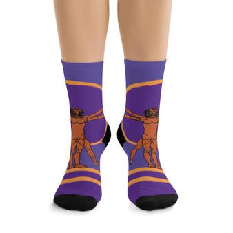 on sale Collectible Leonardo da Vinci Vitruvian Man purple light brown cool art socks by Neoclassical Pop Art online designer brand store