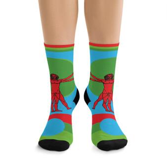 on sale Collectible Leonardo da Vinci Vitruvian Man orange  green light blue cool art socks by Neoclassical Pop Art online designer brand store