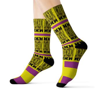 on sale Klimt fancy yellow purple black peace Black Bohemian Chic art Socks by Neoclassical pop art online designer brand  store