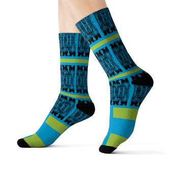 on sale Klimt fancy blue green  black peace Black Bohemian Chic art Socks by Neoclassical pop art online designer brand  store