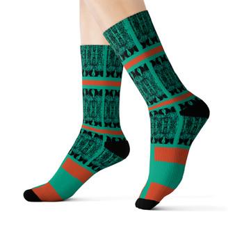 on sale Klimt fancy green orange black peace Black Bohemian Chic art Socks by Neoclassical pop art online designer brand  store