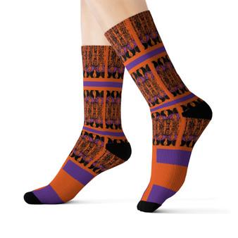 on sale Klimt fancy Orange purple black peace Black Bohemian Chic art Socks by Neoclassical pop art online designer brand  store