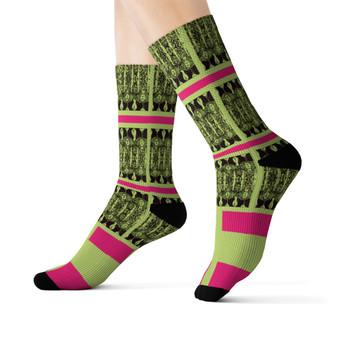 on sale Klimt fancy Pink Green black peace Black Bohemian Chic art Socks by Neoclassical pop art online designer brand  store