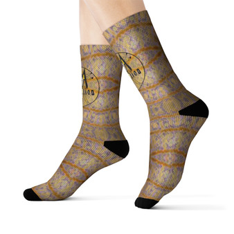 on sale Collectible Leonardo da Vinci Vitruvian Man off white sand tan art socks by Neoclassical Pop Art online brand store