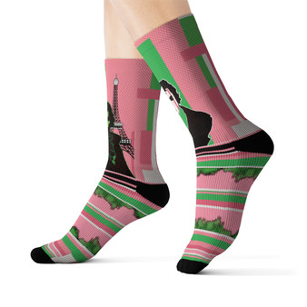 on sale Collectible Louis-David pink green black white Parisian Cyber collectible  fashionable Sublimation art Socks by Neoclassical Pop Art online brand store