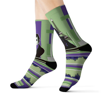 on sale Collectible Louis-David Green Purple Parisian Cyber collectible  funky Sublimation art Socks by Neoclassical Pop Art online brand store