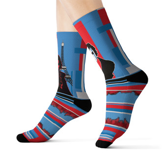 on sale Collectible Louis-David light blue red Parisian Cyber collectible  funky Sublimation art Socks by Neoclassical Pop Art online brand store