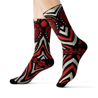 on sale Collectible Leonardo da Vinci Vitruvian Man white black red Zebra cool art socks by Neoclassical Pop Art online brand store