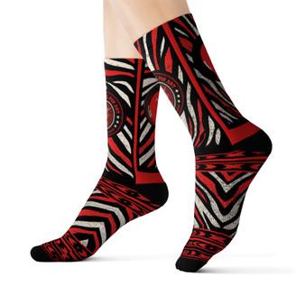 on sale Collectible Leonardo da Vinci Vitruvian Man white black red cool art socks by Neoclassical Pop Art online brand store