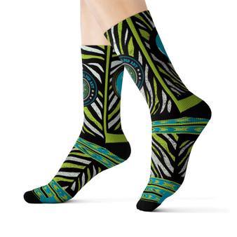 on sale Collectible Leonardo da Vinci Vitruvian Man white black green light blue special art socks by Neoclassical Pop Art online brand store