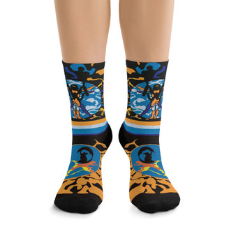 on sale cool Leonardo da Vinci Vitruvian Man kawaii blue yellow black art socks by Neoclassical Pop Art online brand store