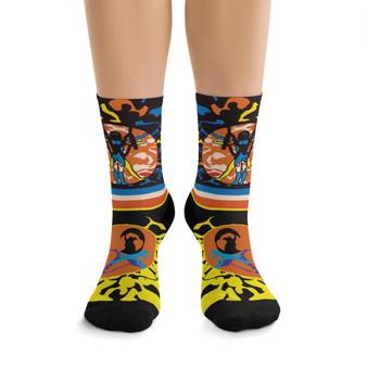 on sale cool Leonardo da Vinci Vitruvian Man kawaii orange yellow blue black art socks by Neoclassical Pop Art online brand store