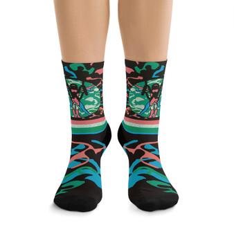 on sale Collectible green blue pink Leonardo da Vinci Vitruvian Man kawaii art socks by Neoclassical Pop Art online brand store
