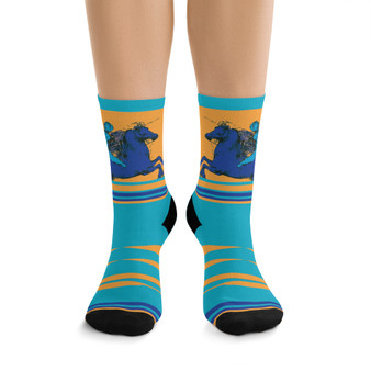 on sale Collectible blue purple yellow Leonardo da Vinci horse coolest art socks by Neoclassical Pop Art online brand store