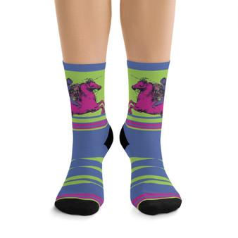 on sale Collectible Leonardo da Vinci green pink lilac horse cool art socks by Neoclassical Pop Art online brand store