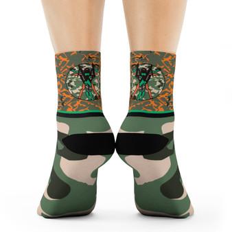 on sale Collectible Leonardo da Vinci Vitruvian Man army green orange camouflage art socks by Neoclassical Pop Art online brand store