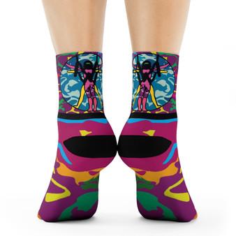on sale Collectible Leonardo da Vinci Vitruvian Man multi color art socks by Neoclassical Pop Art online brand store