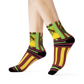 on sale Collectible Sandro Botticelli Brown Green black yellow artist art socks by Neoclassical Pop Art online brand store