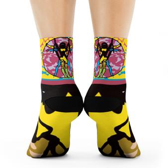 on sale Collectible Leonardo da Vinci Vitruvian Man trendy art socks by Neoclassical Pop Art online brand store