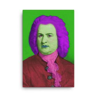 On Sale  Johann Sebastian Bach Baroque Pop Art Portrait in Purple Green Pink & Burgundy  by Neoclassical Pop Art