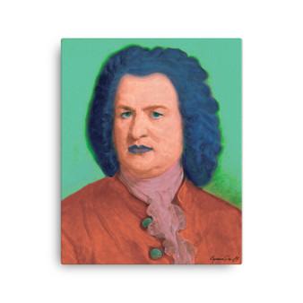 On Sale Johann Sebastian Bach | Baroque Pop Art Portrait in Coral Turquoise & Blue  by Neoclassical Pop Art