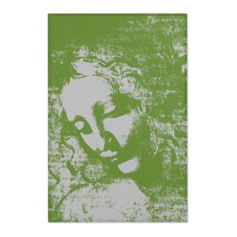 On Sale Da Vinci La Scapigliata Green Off White Area Rugs by Neoclassical Pop Art