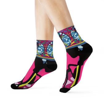 Da Vinci | Pink Blue Vitruvian Funk Crew Socks