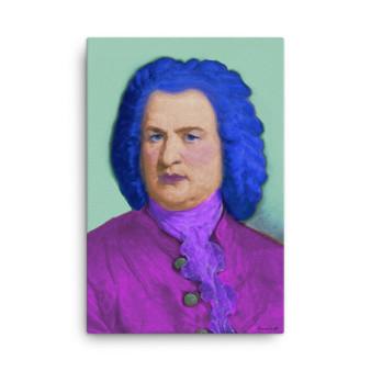 On Sale Johann Sebastian Bach Pop Art Portrait in Purple Blue  by Neoclassical Pop Art