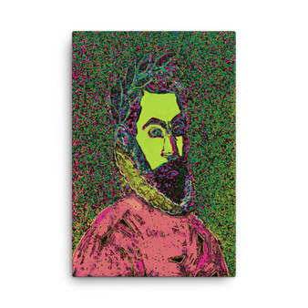 On Sale El Greco Pop Poet Portrait Pink Green Mint Print on Canvas by Neoclassical Pop Art