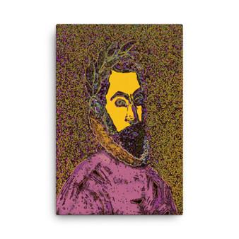 El Greco  Pop Poet Portrait Lavender Purple Yellow Print on Canvas by Neoclassical pop art