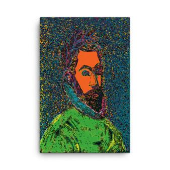 On Sale  El Greco Pop Poert Portrait Orange Blue Green Print on Canvas  by Neoclassical Pop Art