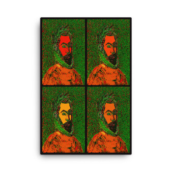 On Sale  El Greco Pop Poet Portrait Orange Green Print on Canvas by Neoclassical Pop Art