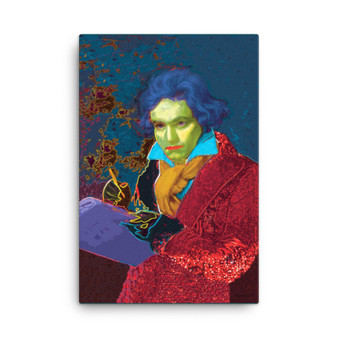 Blue Red Beethoven self portrait print on canvas by neoclassical pop art by Neoclassical Pop Art