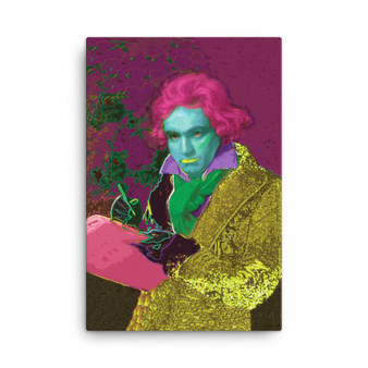 On Sale Beethoven Pop Portrait in Green Pink Yellow Print on  by Neoclassical Pop Art