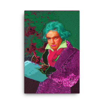 Purple Pink Turquoise Beethoven self portrait print on canvas by neoclassical pop art